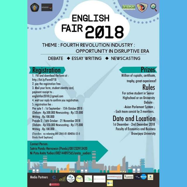 National English Competition English Fair 2018 SMA-Mahasiswa
