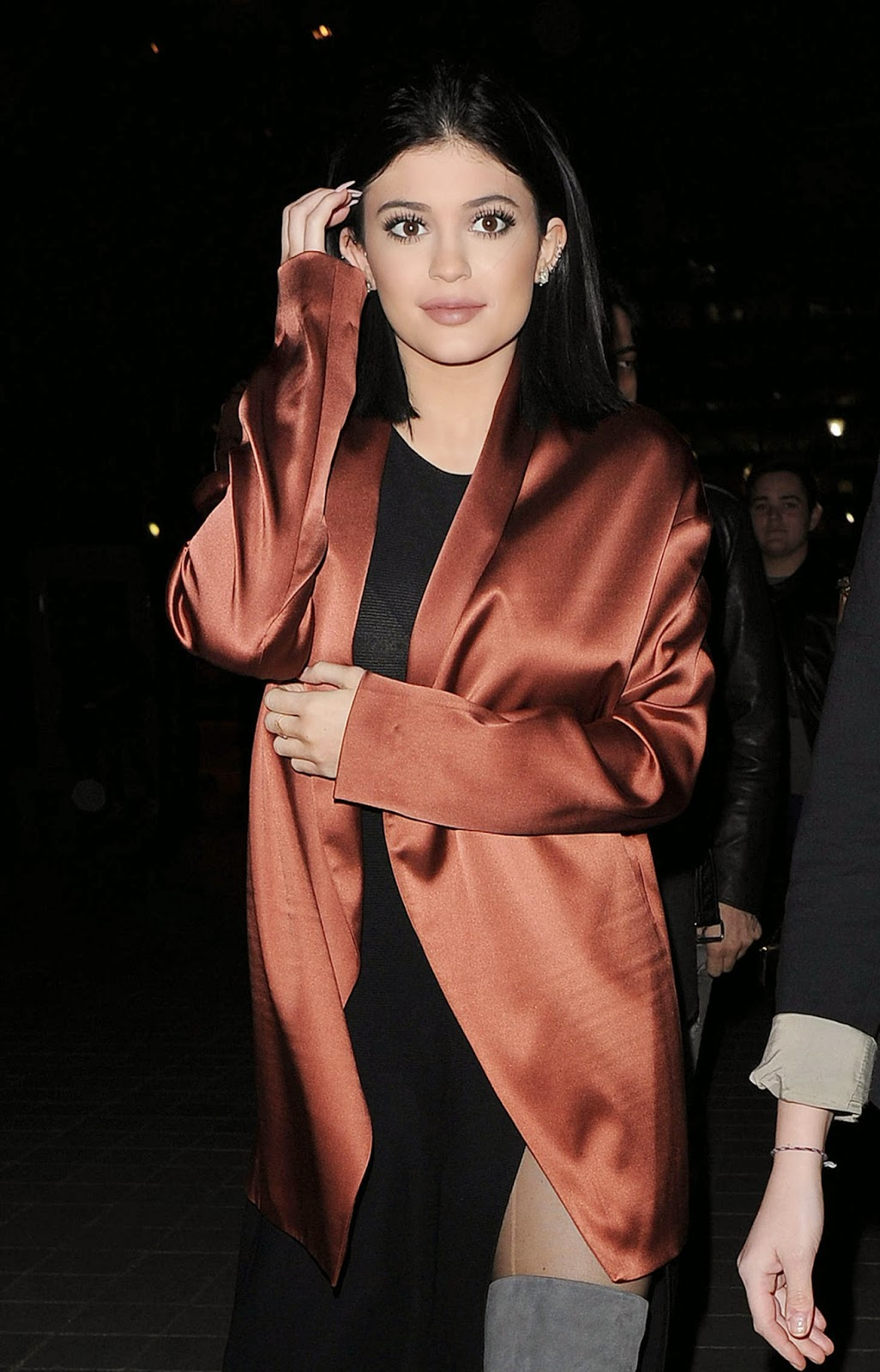 Kylie Jenner flashes cleavage in a sheer dress out and about in London