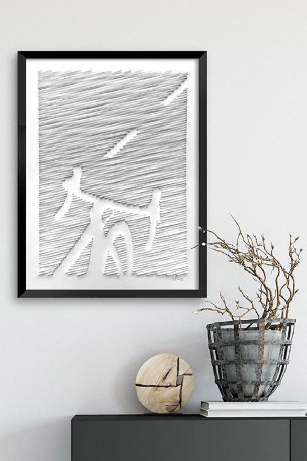 framed on edge paper art bicycle on road hanging on wall