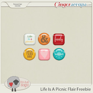 Creative Team, Annemarie, for Ginger Scraps -  Life Is A Picnic by La Belle Vie Designs and Luv Ewe Designs along with Coordinating Freebie AND Photo Addict VOL3 - Templates - by Neia Scraps  and Free Word Art