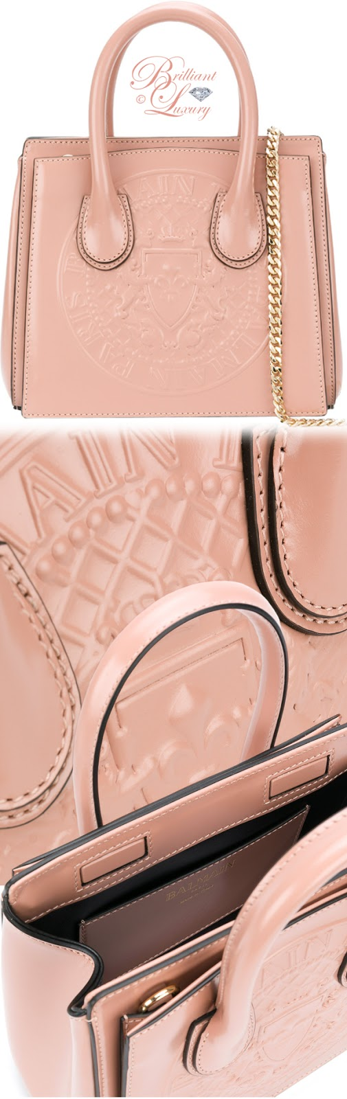 Brilliant Luxury ♦ Balmain mini embossed tote