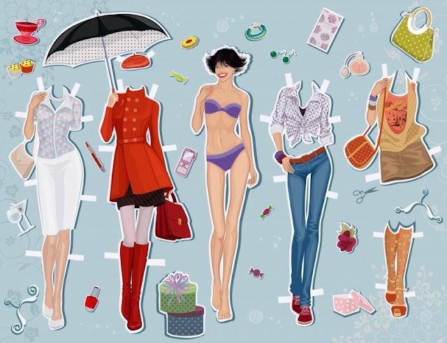 Разные бумажные куклы с одеждой