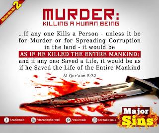 MAJOR SIN. 2. MURDER : Killing a Human Being Hadith Quote | Kabira Gunah