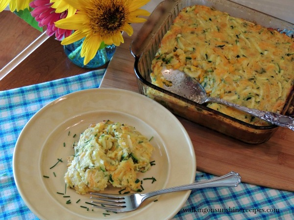 Zucchini Corn Casserole FEATURED photo from Walking on Sunshine