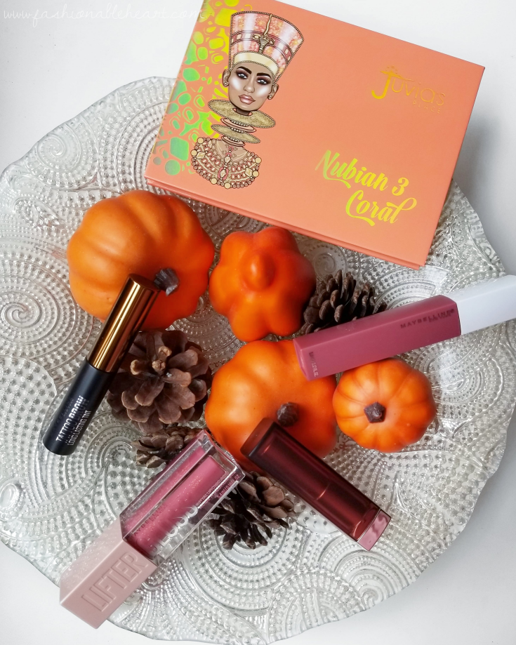 bblogger, bbloggers, bbloggerca, bbloggersca, canadian beauty bloggers, beauty blog, lifestyle blogger, monthly favorites, maybelline, touch of spice, tattoo brow, lifter gloss, petal, superstay matte ink, revolutionary, juvia's place, nubian 3 palette, corals