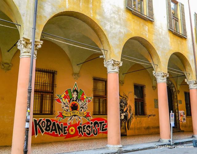 Pórtico típico de Bolonha, Itália