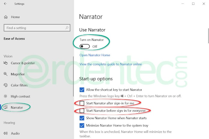 How to Turn off Windows Narrator?