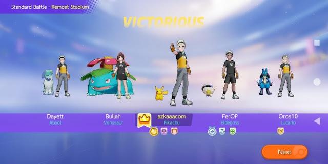 tampilan layar akhir Pokemon Unite