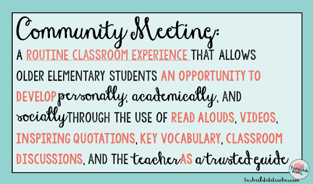 community classroom meetings in 4th 5th grade