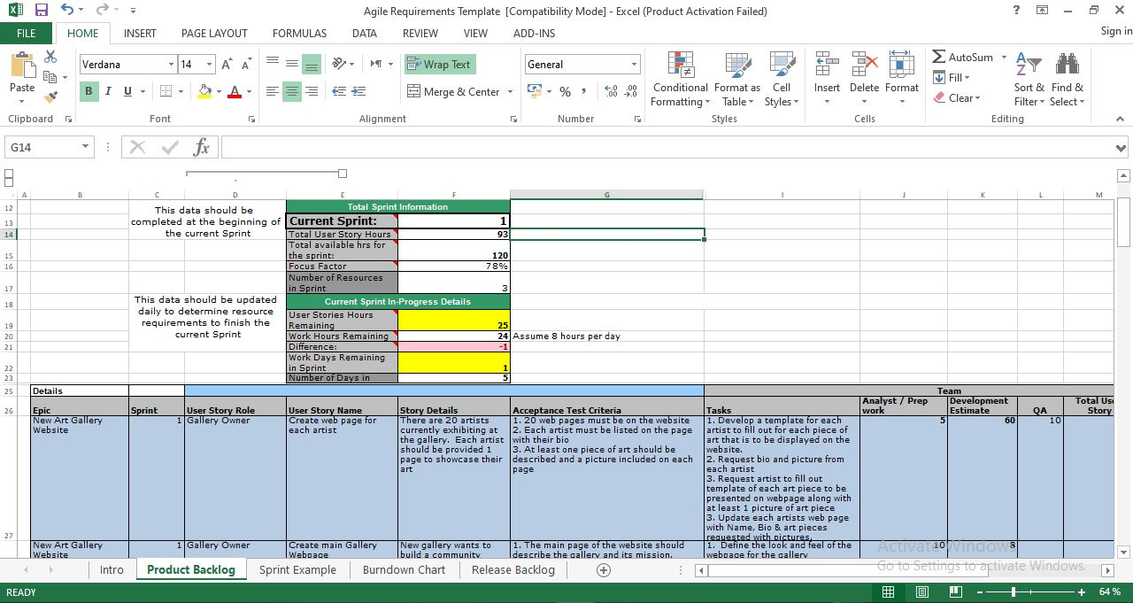 Agile requirements template excel