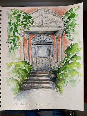 Urban Sketch Watercolor Painting 818 W Franklin Richmond Virginia Building Home Historic Handmade Sharon Warren FluterbyButterfly FlutterbyFoto Painting