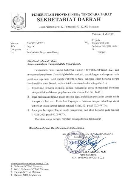 Surat edaran gubernur NTB