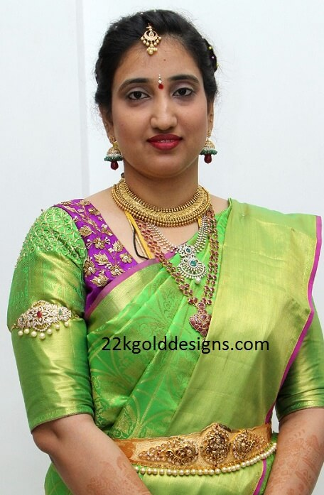 Bride Anusha in her Wedding Reception Jewellery