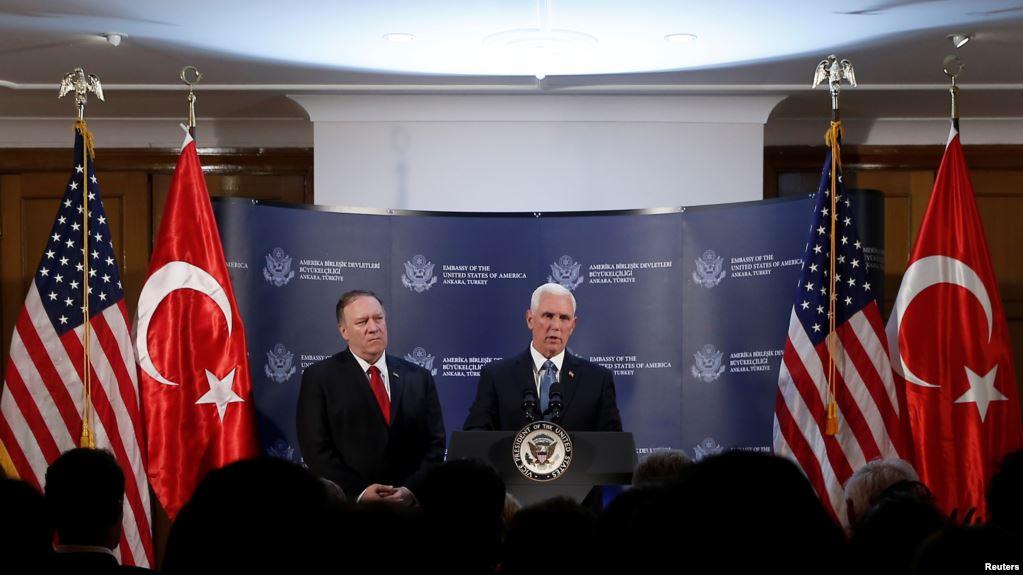 El vicepresidente de EEUU Mike Pence y el secretario de Estado Mike Pompeo hablan a la prensa sobre cese al fuego entre Turquía y furezas kurdas en Siria / REUTERS
