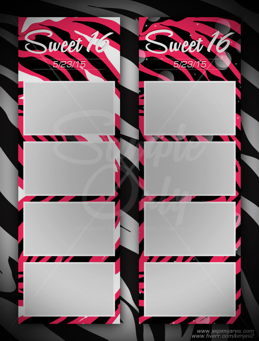 sweet 16 photobooth template fiverr mix n match look