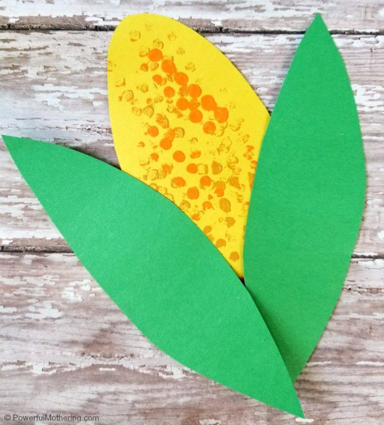 Lego stamping corn craft - Thanksgiving craft for kids