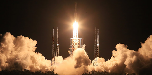 The first Long March 7 rocket launches from the Wenchang Satellite Launch Center on June 25. Photo Credit: 9ifly.cn