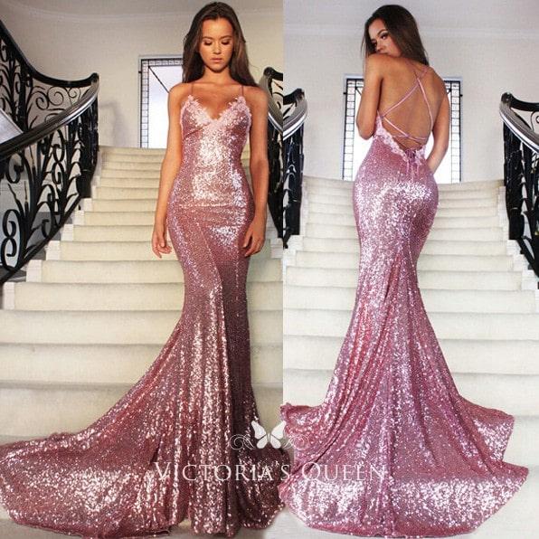 فستان سهرة وسوارية لون Rose Pink موديل 2020