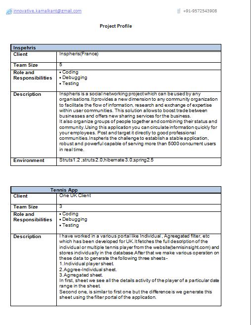 java j2ee 2 years experience resume