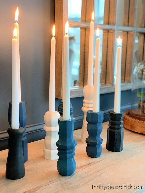 furniture leg candlesticks in blue, black white