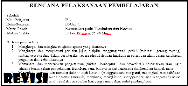 RPP K13 Kelas IX IPA Revisi Terbaru Tahun Ajaran 2018/2019