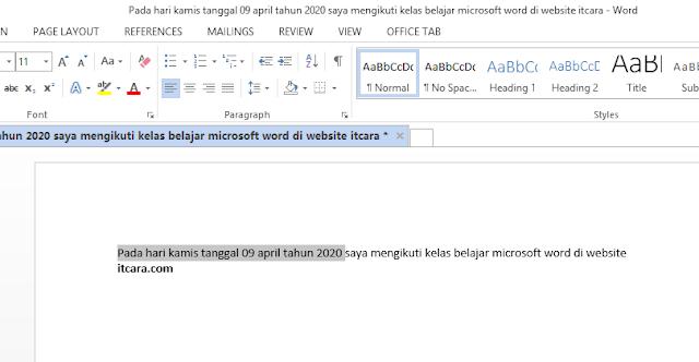 berikut ini Cut teks di word