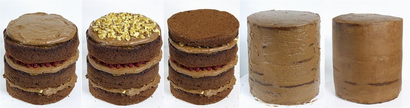 Schokoladen-Karamell-Walnuss-Himbeer-Torte - Drip Cake Anleitung 4