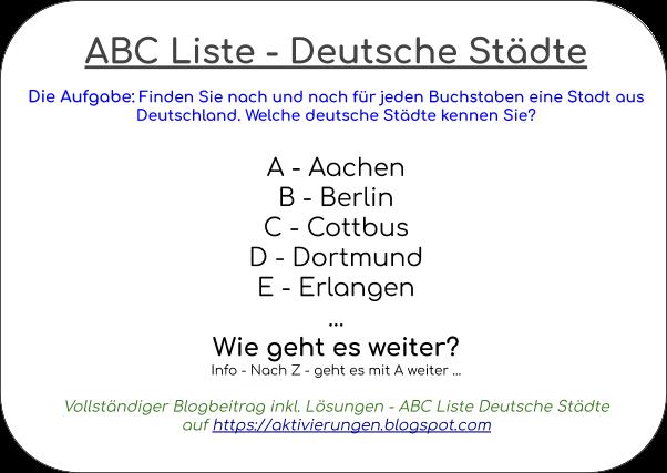 Städte in Deutschland, Städte von a bis z, Aktivierung mit Städte in Deutschland, Betreuungsideen