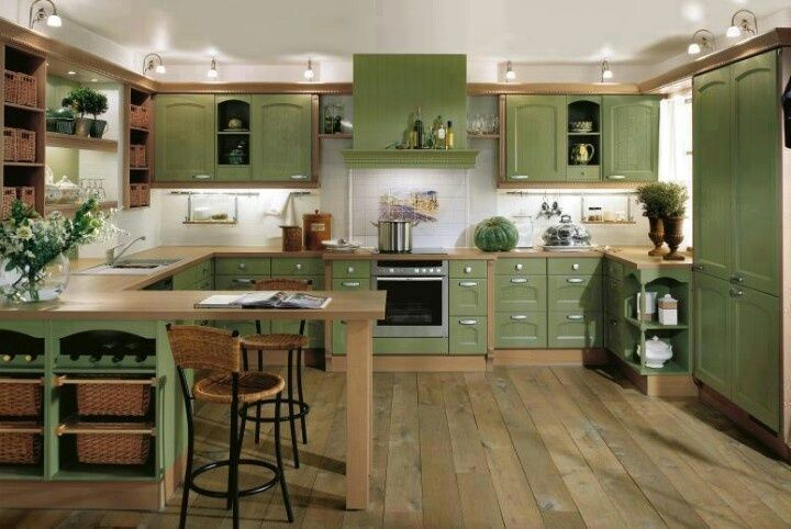 Perfecto Ideas De Cocina De Verde Y Gris Galería - Ideas para ...