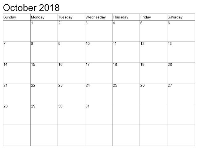 Edit Calendar 2018 October