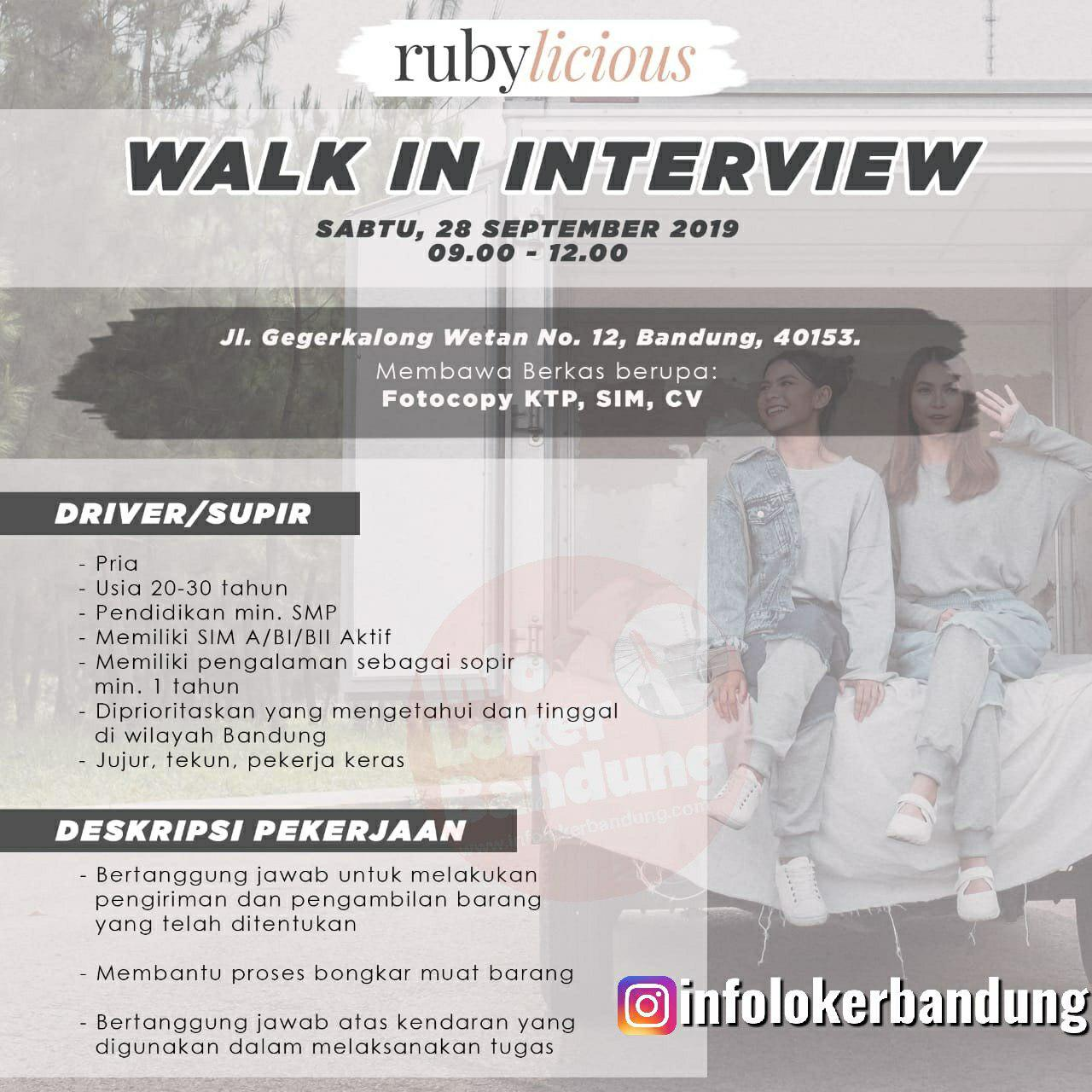 Walk In Interview Rubylicious Bandung 28 September 2019