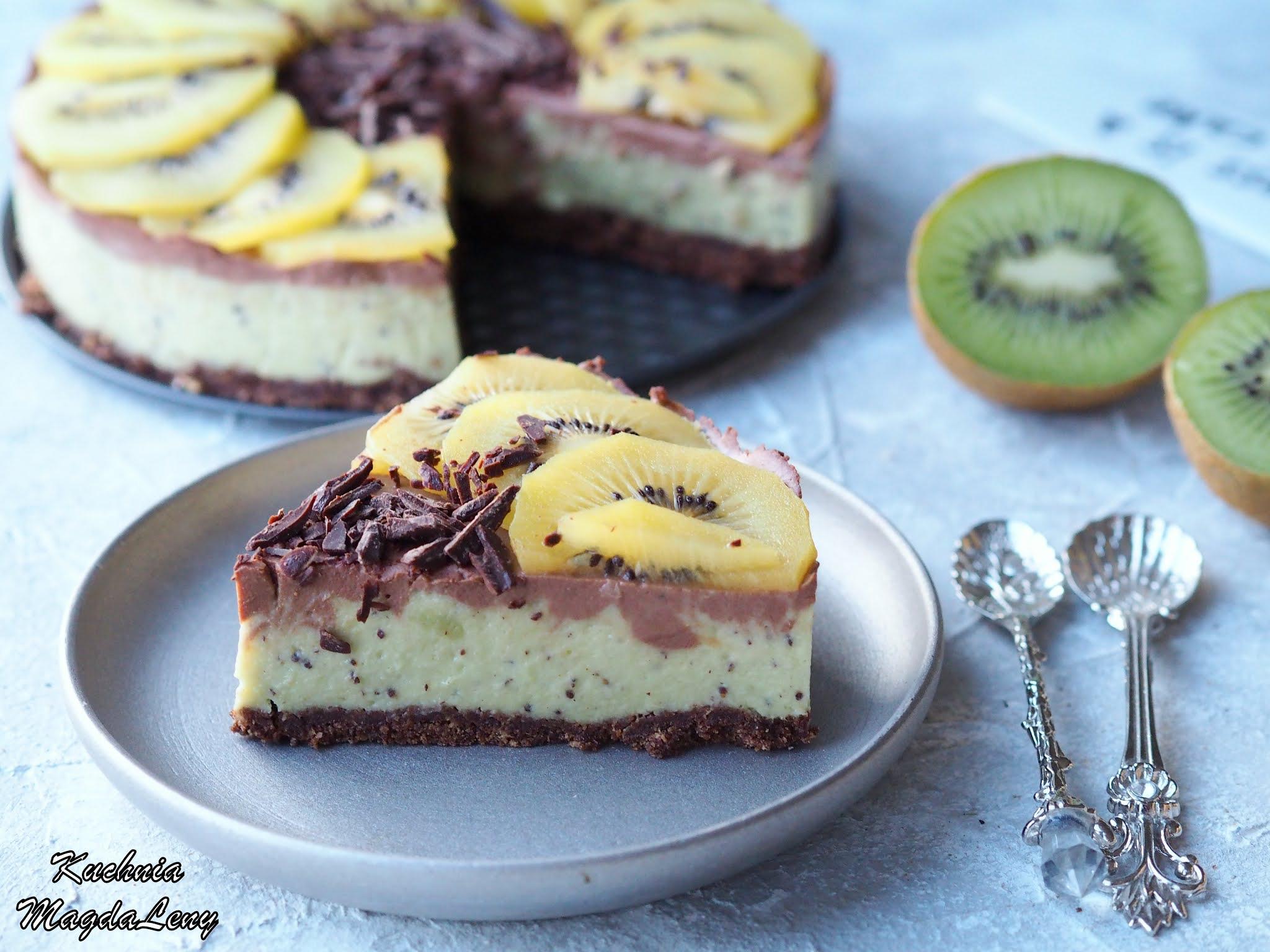 Ciasto kiwi z czekoladą bez pieczenia