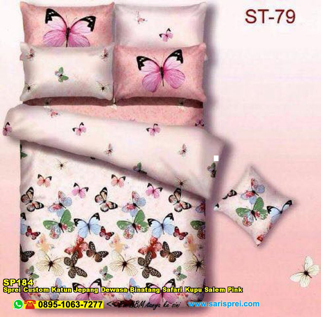 Sprei Custom Katun Jepang Dewasa Binatang Safari Kupu Salem Pink Bedcover Motif Sutra