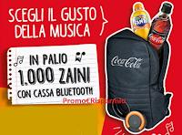 Logo Coca-Cola ''Scegli il gusto della musica'' e vinci 1000 zaini con cassa bluetooth