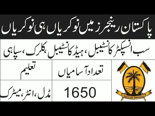 Pakistan Rangers Sindh New Jobs 2020 | Pak Rangers 1650+Vacancy