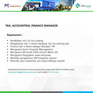 Tax, Accounting, finance manager di Millenium ICT Center Medan