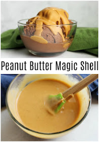 Take your ice cream to the next level with a drizzle of this 2 ingredient peanut butter magic shell. It is the perfect topping for your next sundae!
