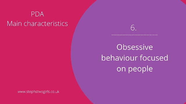 Pink and purple slide presentation with text 6. Obsessive behaviour focused on people