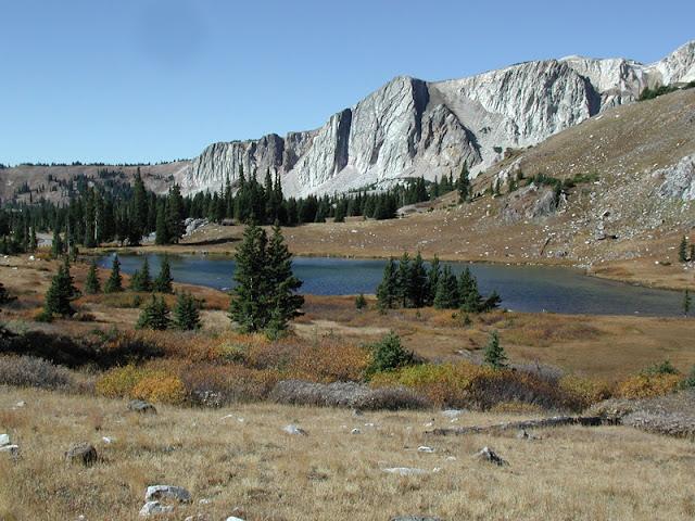 Snowy Range lake and mountains