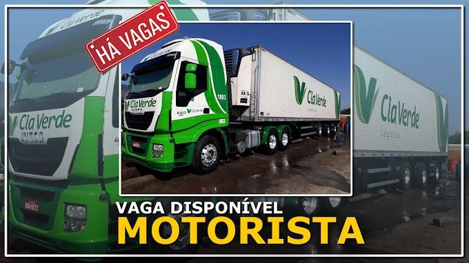 Transportadora Cia Verde abre vagas para Motorista