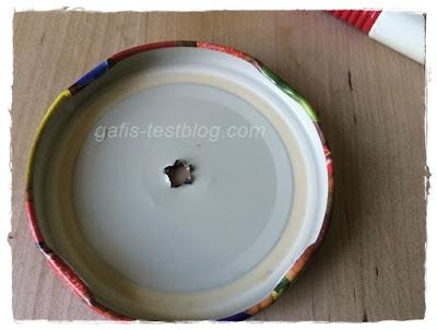 Einmachglasdeckel mit Loch