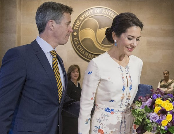 Crown Princess Mary and Princess Charlene wears the same Vilshenko Jery floral print dress