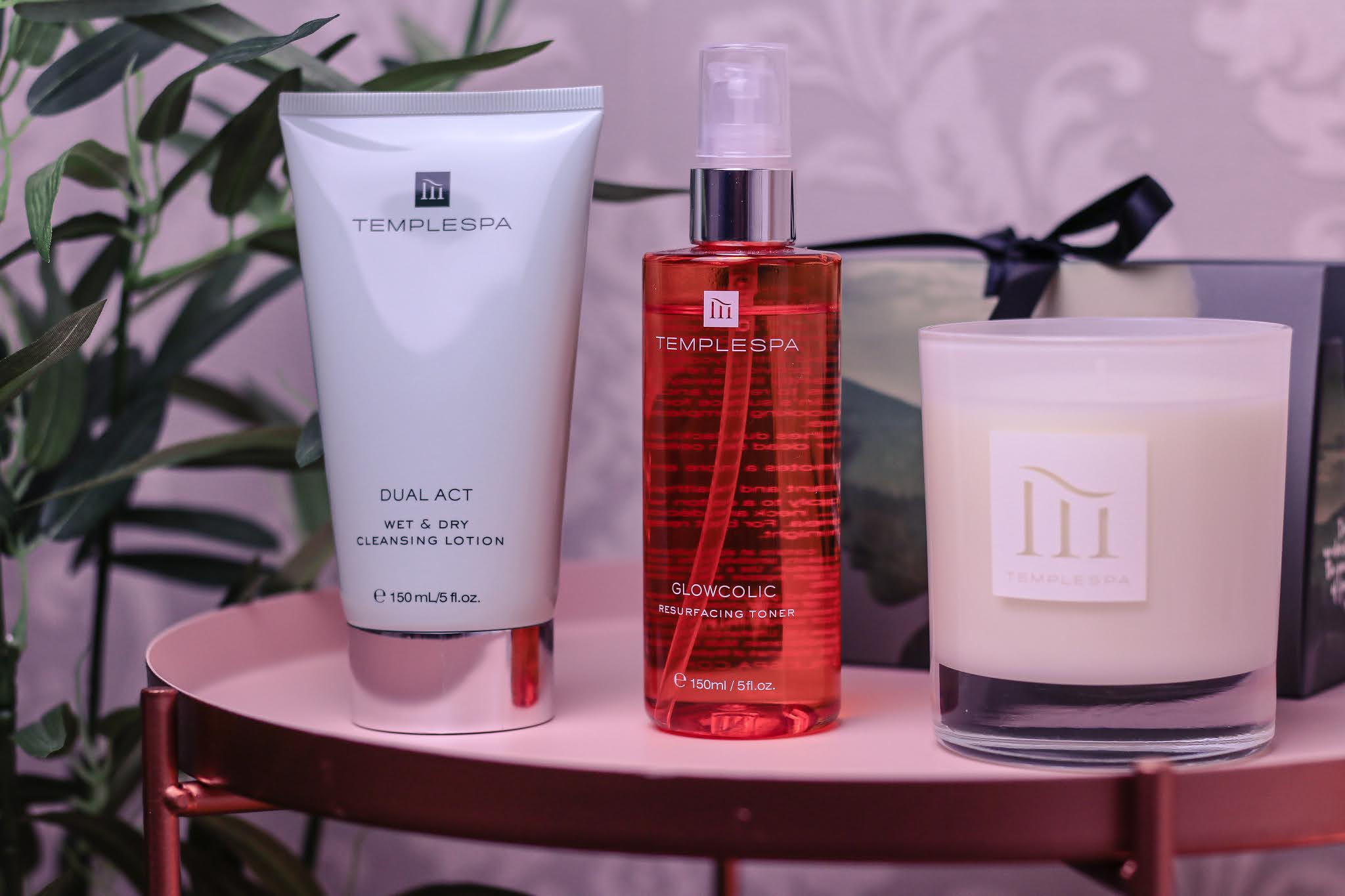 Close up of three temple spa products