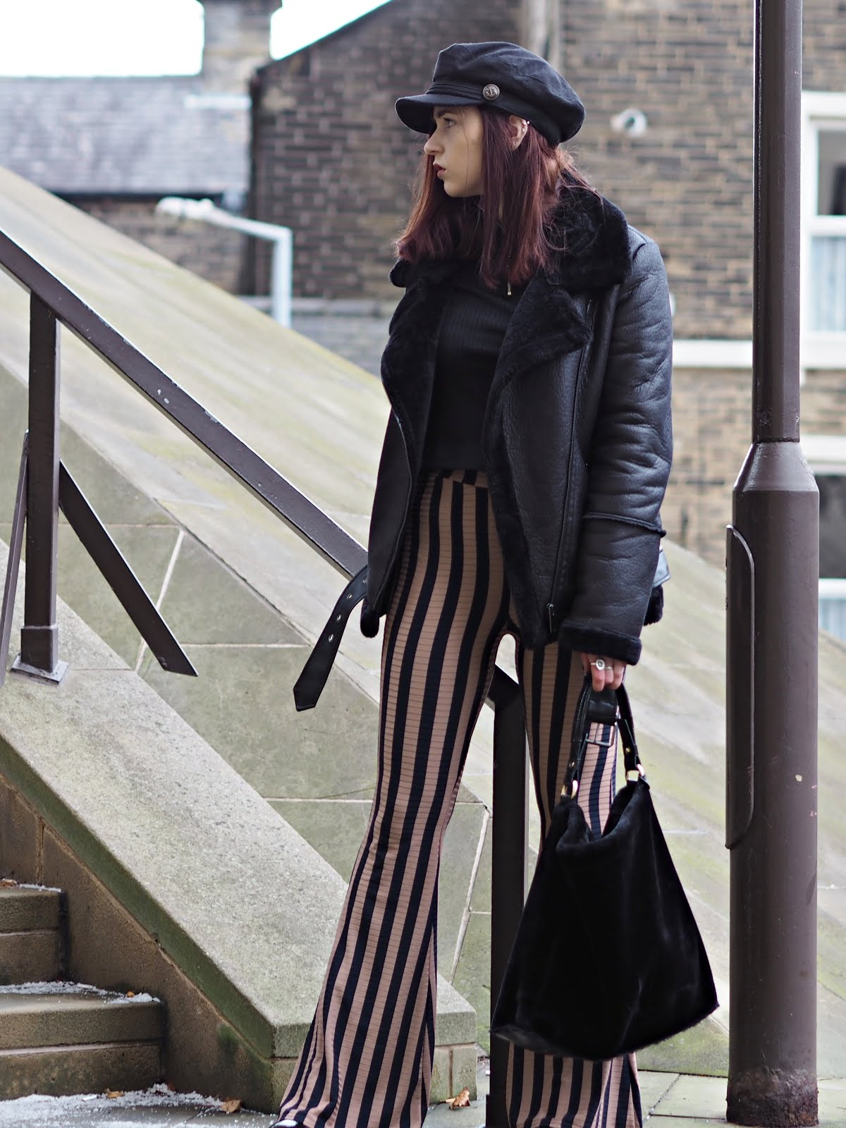 stripe flares and aviator jacket