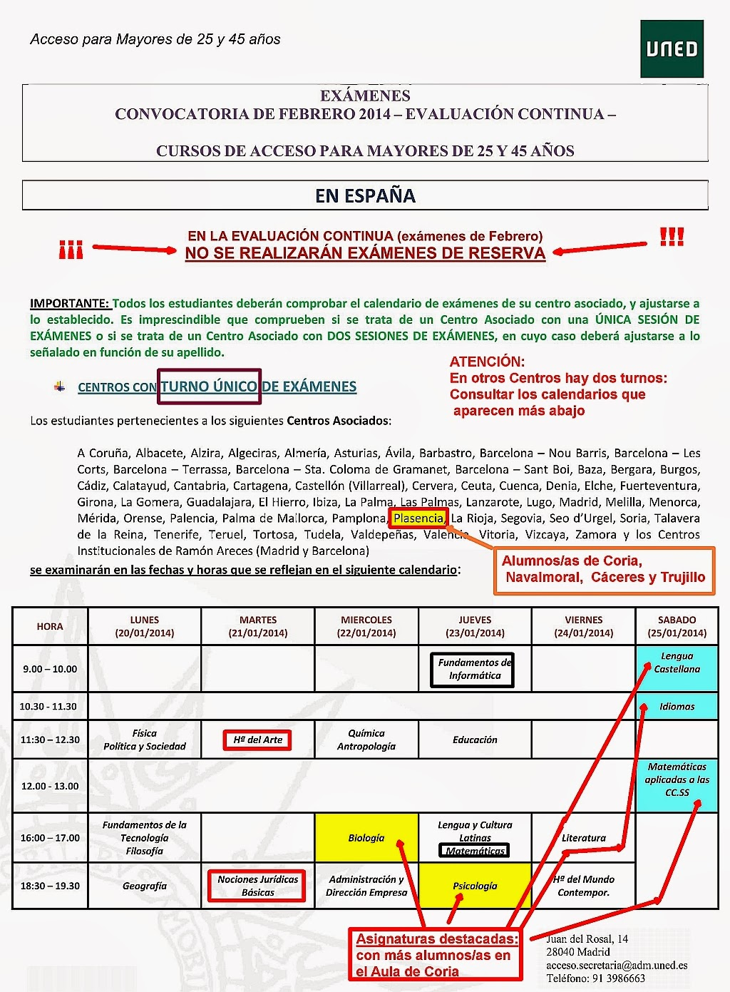 Calendario De Examenes Uned.Uned Aula De Coria Caceres Examenes