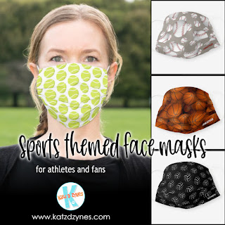 Sports themed face masks for athletes and fans from katzdzynes