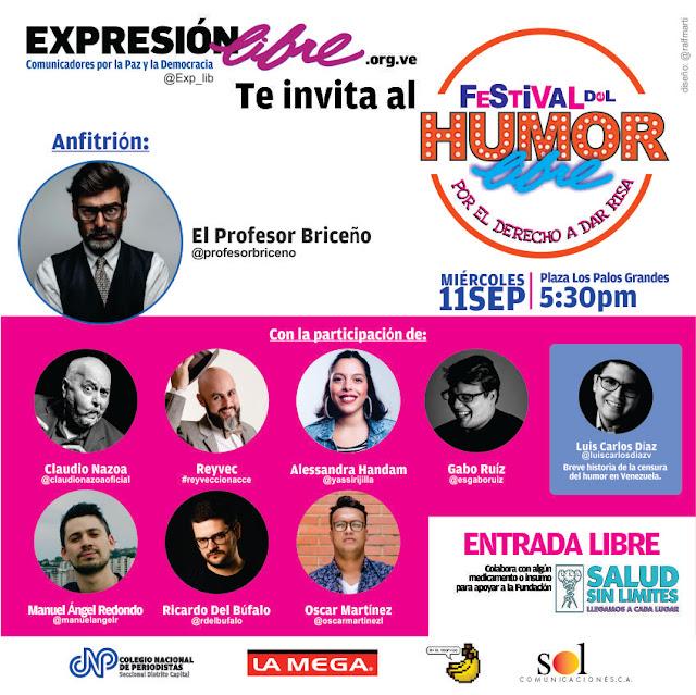 VENEZUELA: El Festival del Humor Libre: El 11 de septiembre el humor se apoderará de la Plaza Los Palos Grandes.