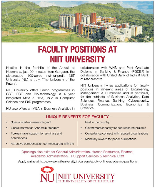 faculty vacancy niit university 2018