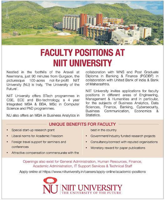 faculty vacancy niit university 2018