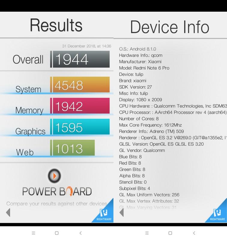 Benchmark Basemark OS II Xiaomi Redmi Note 6 Pro